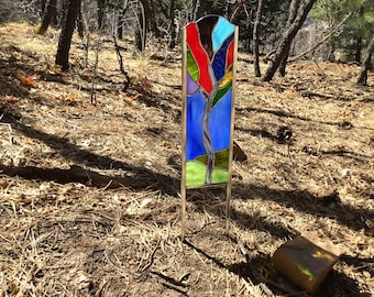 Stained glass garden stake  Colorful Tree