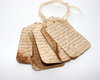 Handmade Vintage Chic Tag Set of 1000 - Vintage French Script - Distressed and Stamped - Business Packaging - Price Tags - Event Favors