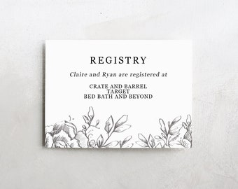 Wedding Registry Card | Wedding Info Card Download | Registry Cards | Wedding Information | Wedding Registry Template | Bridal Shower Insert