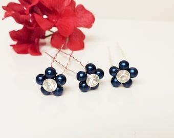 Twilight Blue Pearl Hair Pins - Set of 3 Bridesmaid Hair Pins - Rhinestone Flower Girl Hair Accessories