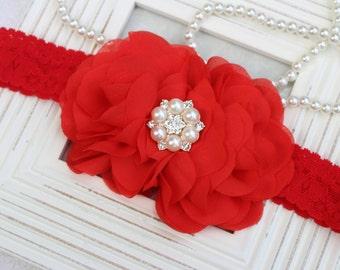 Red headband, red flower headband, red flower girl headband, red flower headband, red wedding headband, red kids hair accessories girls