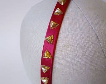 Jewelled fuchsia pink satin headband with vintage gold triangle stud sequins ~ Punk ~ Tattoo ~ Party ~ Alice band ~ Hair band