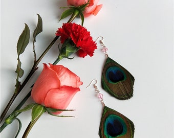 Original Design Jewelry Handmade Peacock Feather Earrings Summer Feather Earrings For Girl