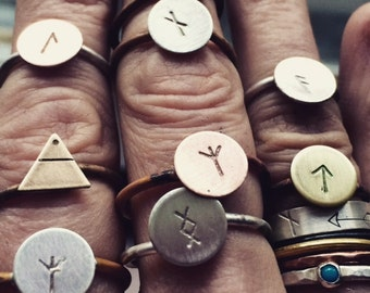ALCHEMY SERIES handforged abstract alchemy or rune symbol stacking ring.