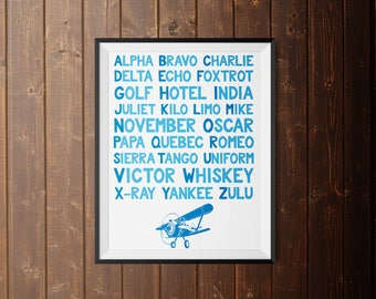 Printable - Little Boy Room - Airplane Alphabet - 8 x 10