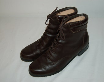 Women Size 9 1/2 Vintage Sporto Brown Leather Ankle Lace Up Boots