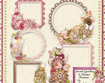 On Sale 50% Secret Garden Digital Scrapbook Kit Cluster Frames - Digital Scrapbooking