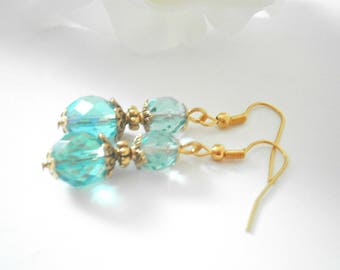 Turquoise Earrings - Czech Glass Jewelry - Dangle Earring - Beaded Jewellery - Aquamarine Earrings - Bridal Earrings - Turquoise Weddings