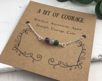 Courage bracelet, Strength Bracelet, Calm Bracelet, Gemstone Bracelet, Bracelet Card, Sentiment Bracelet