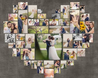 """Heart Photo Collage. Valentine's day Gift. Wedding gift. Custom Anniversary gift. Gift for her. Digital copy. Size 40""""x40""""/ 20""""x20""""/ 10""""x10"""""""