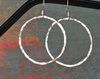 Sterling Silver Hammered Big Hoop Earrings, textured and hammered / great deal