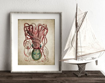 Octopus Print - Octopus Poster - Octopus Illustration - Marine - Digital Art - Printable Art - Single Print #143 - INSTANT DOWNLOAD