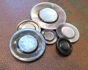 ANTIQUE Mother of Pearl Buttons Smokey Assorted Carved Victorian Era Six (6) Buttons NBS Wedding Jewelry Sewing Supplies (A225)