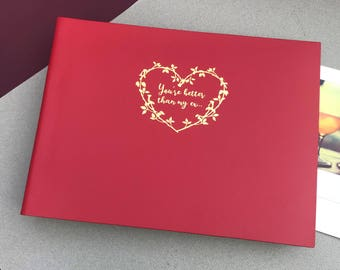 """Embossed Recycled Leather Photo Album --- """"you're better than my ex..."""""""