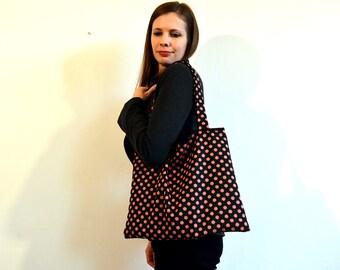 tote bag en coton noir à pois corail