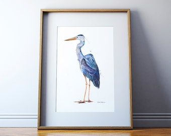 Great Blue Heron Art Print - Watercolor Painting - Bird Painting