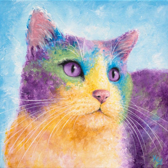 "Cat Art Print - Cat Lover Gift, Cat Gift for Her, Cat Owner Gift, Cat Gifts, Cat Decor, Cat Print of my Cat Painting ""Cosmo"""