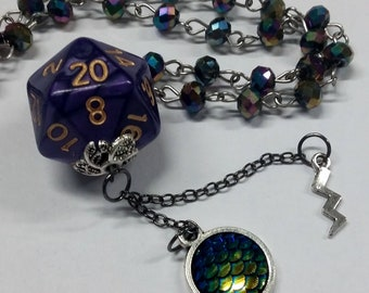 Beaded D20 necklace: Dungeons and Dragons necklace, dice jewelry, dice pendant, dragon scale, D and D jewelry, dice necklace, free dice bag