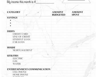 Budget Balance Sheet - Marble