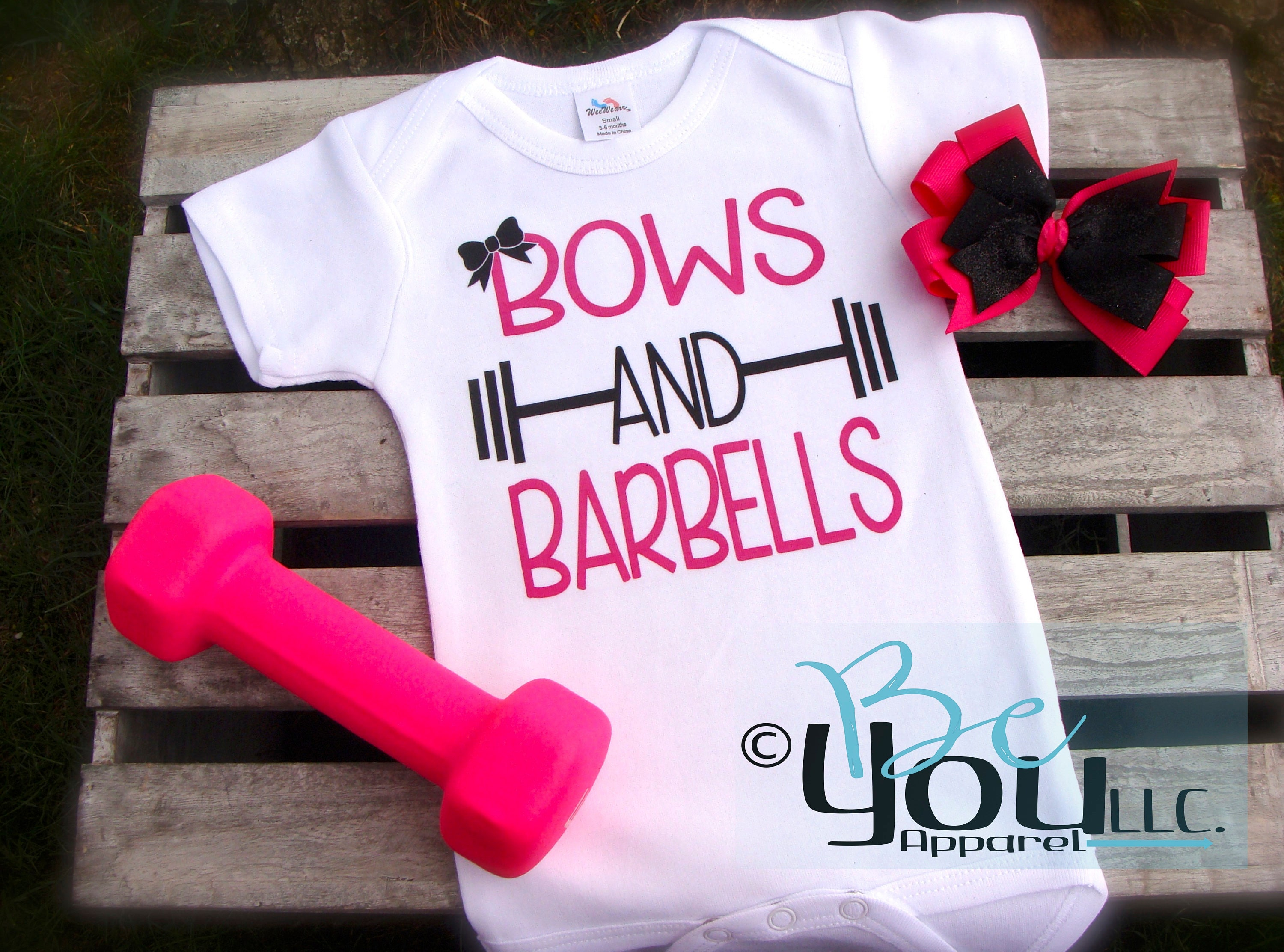 Bows and Barbells weight lifting curls workout shirt