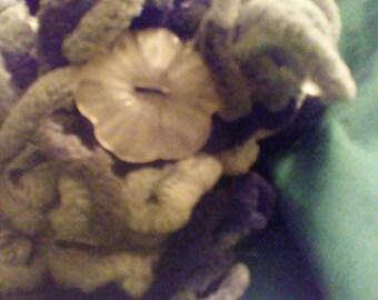 Crocheted Granite Gray Truffle yarn Ruffle Scarf