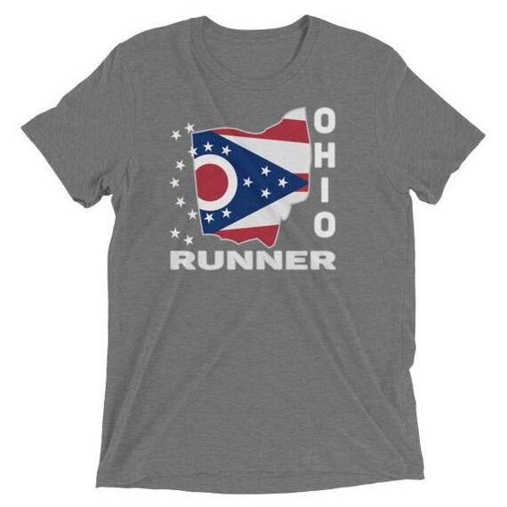 Men's Ohio Runner TriBlend T-Shirt - Run Ohio - Men's Short Sleeve Running Shirt
