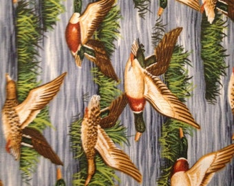 Flying Mallards Over Water, 100% Cotton
