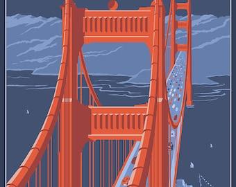 San Francisco, California - Golden Gate Bridge (Art Prints available in multiple sizes)