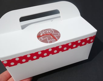 Dozen (12) Gable CAKE BOX Gingerbread Man Red & White Polka Dot Bridal Shower Food Favor To Go w/Handle Decorated Wedding Christmas Birthday