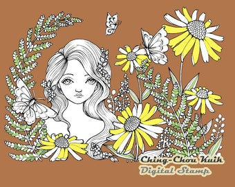 SummerGarden - Digital Stamp PRINTABLE Instant Download / Butterfly Flora Flower Fairy Fantasy Line Art by Ching-Chou Kuik