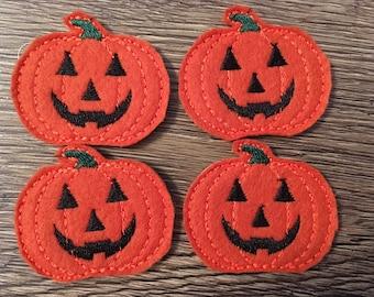 Pumpkin Felties Set of four - Halloween Feltie - Jack o Lantern Feltie