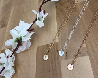 Single rose gold/ gold filled/ Sterling silver initial disc necklace