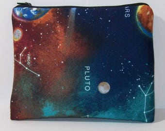 "Pipe Pouch, Astronomy Bag, Pipe Case, Space Pipe Bag, XL Zipper Bag, Padded Pipe Pouch, Hippie, Stoner, 420, Gadget Bag, 7.5"" x 6"" - X LARGE"