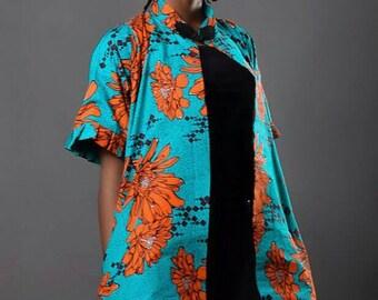 Zapel Woman  flowery Ankara print kimono jacket.