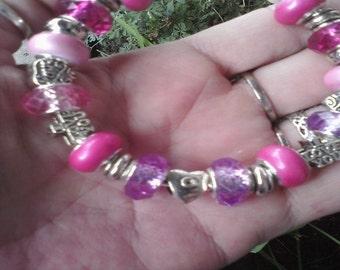 Pink Lovers Hearts, Euro style bracelet