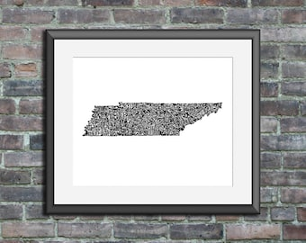 Tennessee typography map art unframed print customizable personalized state poster custom wall decor engagement wedding housewarming gift
