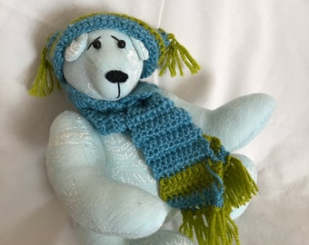 Unique bear with hand crochet hat and scarf