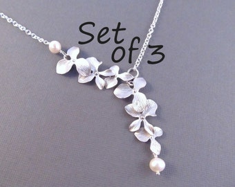 Pearl Bridesmaid Necklace Set of 3, Silver Orchid Flowers with Pearls, Bridal Party Jewelry, Wedding Jewelry, Lariat Style Necklace