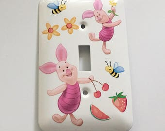 Piglet Single Light Switch Cover, Baby Gift, Nursery, Bumblebees, Fruit, Flowers