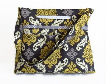 9 Pocket Diaper Bag in Joel Dewberry Damask with Adjustable Messenger Strap and Outside Phone Pocket