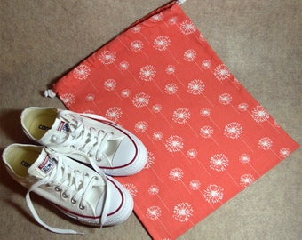 Coral Dandelion Drawstring Travel Shoe Bag