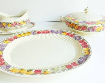 Ridgways Hand Painted Bedford Ware Tuberose Made in England circa 1927 Completer Set Serving Dining Vintage