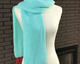 Mint Scarf with Red Fringe