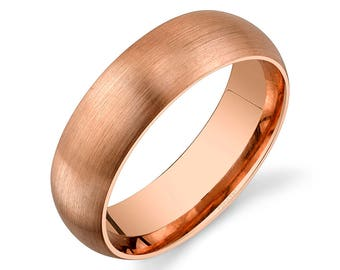 14k Rose Gold Band (6mm)   PLAIN   Matte Brushed Rounded Dome + Comfort Fit   Men's Women's Wedding Ring Pink Simple