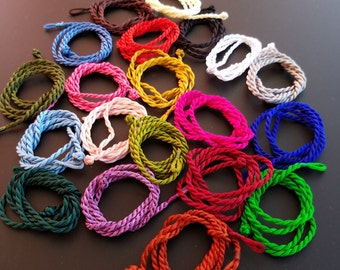 """Twisted Silk Cord Necklaces in 21 Colors  - 18-19"""""""