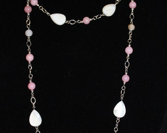 Beautiful pink and white necklace with white teardrops (not a choker!)