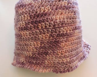 Pink and purple women hat in Alpaca, Merino and silk