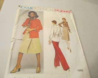 Vintage Sewing Pattern - Vogue American Designer 1368; ca. 1975; Calvin Klein - Misses' Jacket, Skirt, Pants and Shirt - Size 12 - UNCUT