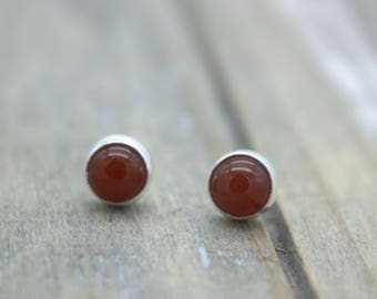 Carnelian Stud Earrings - Sterling Silver Gemstone Earrings - Gift for Her - Jewelry Sale