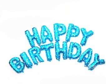 Blue 16 inch Foil HAPPY BIRTHDAY Balloons - Jumbo Alphabet Letter Balloon - Blue with White Stars
